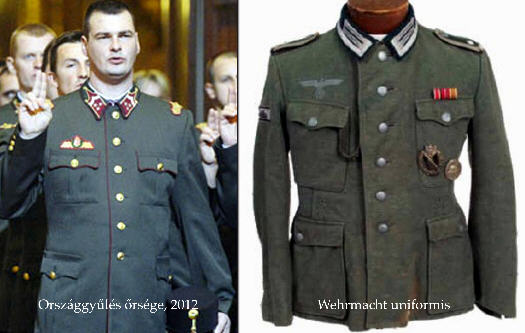 The Parliamentary Guard uniform on the left and the Wehrmacht uniform on the right