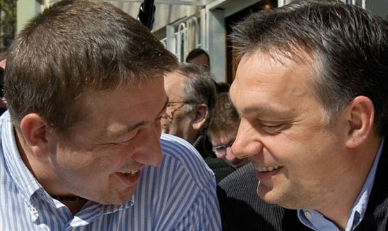 Old friends: Zsolt Bayer and Viktor Orbán having fun