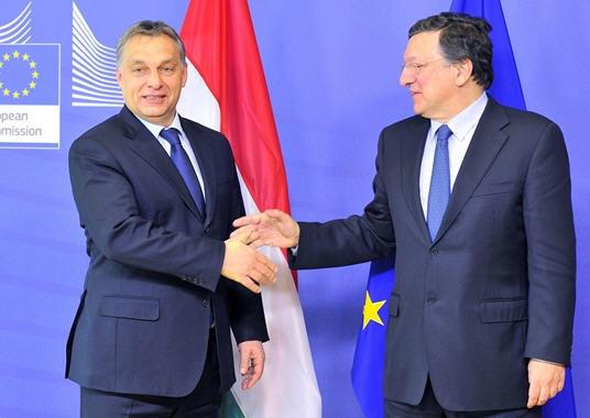 Viktor Orbán and José Manuel Barroso at the press conference, January 30, 2013