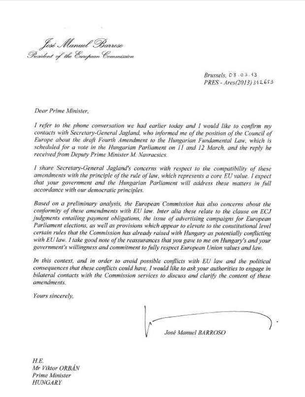 Barroso to Orbán