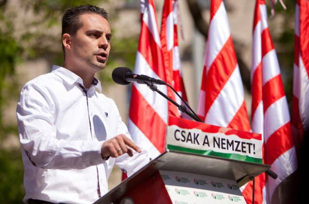 Gábor Vona at today's anti-Zionist demonstration