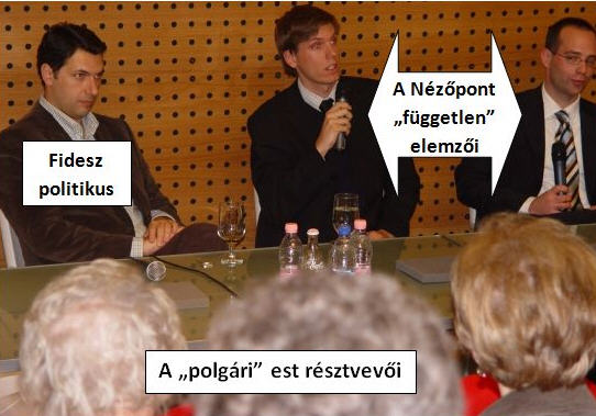 Meme (Fideszfigyelő). On the left János Lázár, Fidesz politician and on the left two independent political scientists. Far right is Ágoston Sámuel Mráz. The audience came from one of the civic cells