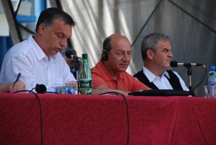 When Viktor Orbán and Trajan Basescu were still friends. On the right László Tőkés at Tasnádfűrdő