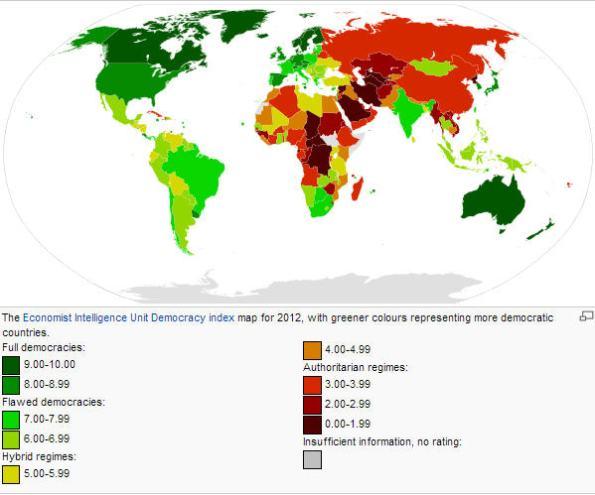 Democracy Index 2013. Hungary is labelled as flawed democracy