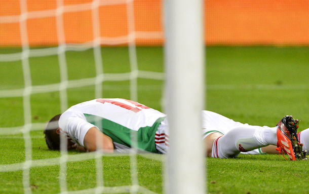 Szilárd Devecseri, one of the Hungarian players, after he kicked an own-goal. The mood of the rest of the players was no better.