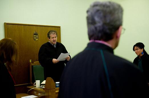 Judge Lajos Balla of the Debrecen Appellate Court reads the verdict
