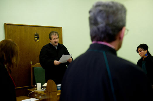Judge Lajos Balla of the Debrecen Appellate Court reads the verdict