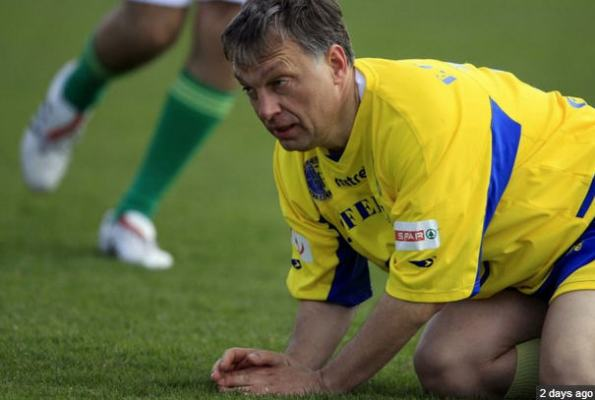 Viktor Orbán playing football / ATV