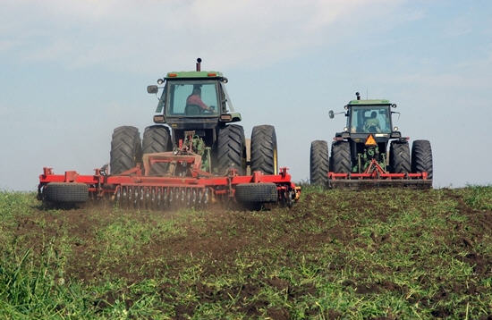 The harrowing of the fall crop is under way