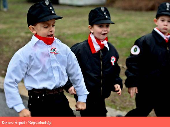 Boys in Magyar Gárda uniform