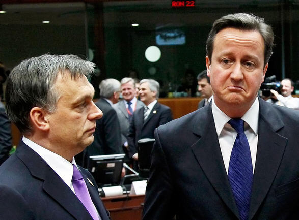 Viktor Orbán and David Cameron after the meeting of the European Council / Reuters
