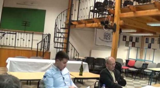 "Dániel Bolgár and Krisztián Ungváry during the ""debate"""