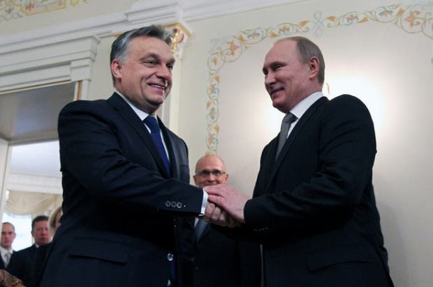 Viktor Orbán and Vladimir Putin in Moscow, January 2014 Source: Europess / Getty Images / Sasha Mordovets