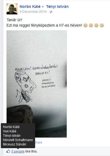 The anti-Semitic caricature sent by a student which Tényi found so hilarious